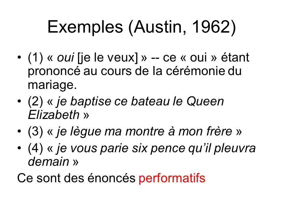 Exemples (Austin, 1962) (1) « oui [je le veux] » -- ce « oui » étant prononcé au cours de la cérémonie du mariage.